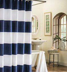 Max Studio 100% Cotton Shower Curtain Wide Stripes Fabric Shower Curtain Turquoise Navy Blue Beige (Navy Blue), http://www.amazon.com/dp/B00TKTTHFQ/ref=cm_sw_r_pi_awdm_LXaXvb1G3FHV7