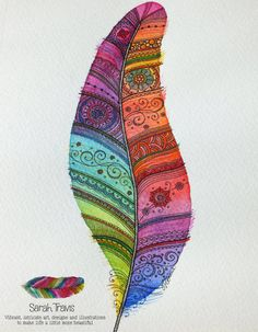 Rainbow Feather 1 ORIGINAL PAINTING with note of by SarahTravisArt