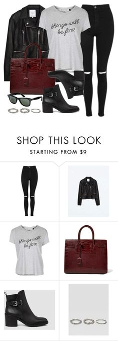 """Sin título #11888"" by vany-alvarado ❤ liked on Polyvore featuring Topshop, Zara, Yves Saint Laurent, AllSaints, Ray-Ban and ASOS"