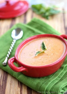 Slow Cooker Tomato Basil Parmesan Soup (substitute with vegetable broth)