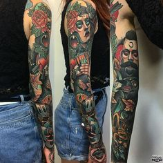 Neotraditional color full sleeve tattoo from Aber! #neotrad #neotraditional…