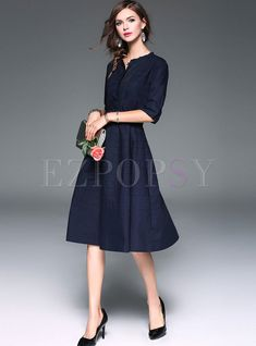 Shop for high quality Brief Pure Color High Waist Belted Midi Skater Dress online at cheap prices and discover fashion at Ezpopsy.com