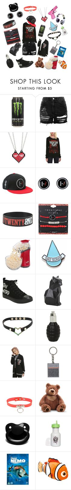 """""""21 pilots ❤️🖤"""" by rainythedarklord ❤ liked on Polyvore featuring Topshop, Hot Topic, Presto, Stay Home Club, Betsey Johnson, Gund and Disney Pixar Finding Dory"""