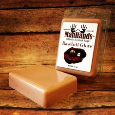 Baseball Glove Scented Soap 3 oz. Bar. $5.95, via Etsy. @Lisa Cox What?!!<--- (Jazz hand, just one)