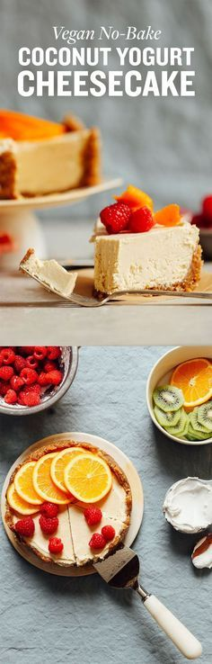 DELICIOUS Vegan Gluten-Free COCONUT YOGURT Cheesecake! 10 ing, naturally sweetened, BIG flavor! #vegan #glutenfree #dessert #cheesecake #plantbased #minimalistbaker