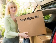 """MOVING MONDAY:  Pack a """"First Night Box""""  Most people don't think to do this, and end up rummaging through several boxes on moving day to get their pajamas or the coffee maker. Pack yourself a """"first night"""" box with all your toiletries, some clothes, and anything you'll need the following morning such as dishes and silverware or your hair-dryer."""