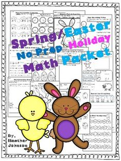 Spring No Prep Holiday Math Packet: Easter: Place value, time, money, word problems, etc