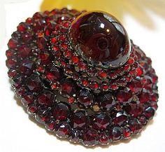 "Antique VICTORIAN Pin Brooch BOHEMIAN Garnets Rose Cut 5 Tiers Gold Silver Gilt C Clasp 2"" VG / 450"