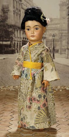 """""""Fascination"""" - Sunday, January 8, 2017: 365 German Amber-Tinted Bisque Asian Child, 164, Attributed to Simon and Halbig"""
