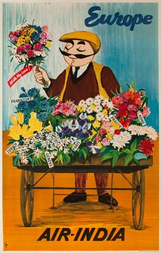 Air India Europe Flower Vendor Original Travel Poster