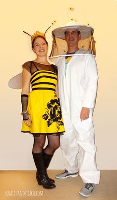 Make your own Queen Bee and Beekeeper costumes with basic materials. See how we made ours with this step-by-step tutorial. By scratchandstitch.com