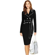 Oxiuly women autumn winter dresses long sleeve notched formal wear to work  plus size 3xl 4xl pencil dress with belt robe 8466a8e5568d