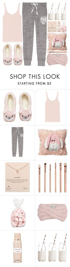 """Toddle"" by bellacharlie ❤ liked on Polyvore featuring H&M, Eres, Dogeared, Eugenia Kim, Carven, Dress My Cupcake, sleepover, pastel, pajamas and pajamaparty"