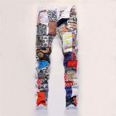 2016 Patchwork Jeans For Men 2016 Streetstyle Stylish Designer Straight Nightclub Colorful Jeans Pants Wholesale 1307 From Jeans1990, $30.16 | Dhgate.Com