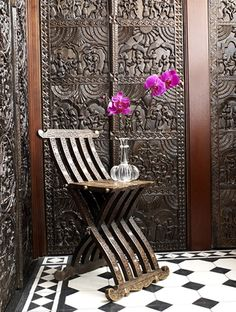 I love the carved paneling and the table Martyn Lawrence-Bullard Design - Our Work