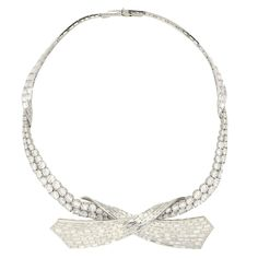 View this item and discover similar for sale at - Superb double row diamond 'Ribbon' motif necklace set with baguette and round cut diamonds Pierre Sterle circa. Ribbon Necklace, Necklace Set, Platinum Jewelry, Diamond Jewelry, Round Cut Diamond, Diamond Cuts, 1960s, Fine Jewelry, Jewelry Necklaces