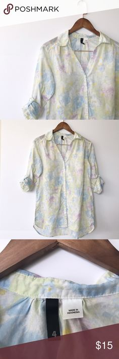 {H&M} Floral Button-Down Light, airy button-down from H&M in pastel shades of purple, yellow, green, & blue. Size 4. Perfect condition. H&M Tops Button Down Shirts