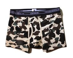 A Bathing Ape Underwear (Camo Beige) BAPE made sure that it has good elasticity and no irritation properties when worn still with good fashion design. Streetwear Shorts, Streetwear Fashion, Men With Street Style, Camo Shirts, A Bathing Ape, Latest Street Fashion, Bape, Fashion Labels, Outfit Of The Day