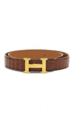 Hermes Miel Crocodile H Belt