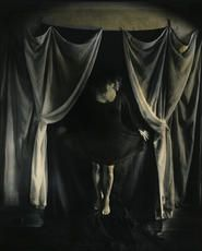 """Lauren E. Simonutti, Spirit Photograph - Curtain Call, 2012 From the 8 Rooms 7 Mirrors 6 Clocks 2 Minds and 199 Panes of Glass series 10 x 8"""" toned gelatin silver contact print"""