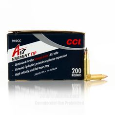 CCI 17 HMR Ammo - 200 Rounds of 17 Grain Polymer Tip Ammunition #17HMR #17HMRAmmo #CCI #CCIAmmo #CCI17HMR #PolymerTip