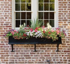 Looking for a simple, but high-impact gardening project? Consider revamping your window boxes. Beautiful gardens in miniature—that's the essential appeal of window boxes. Window Box Flowers, Window Planter Boxes, Planter Ideas, Garden Windows, Black Windows, Vintage Windows, Box Design, Design Ideas, House Front