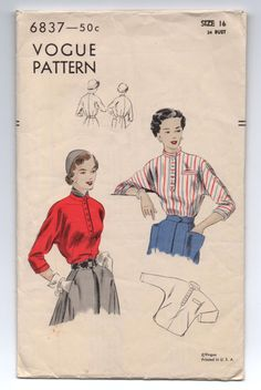 """1940's Blouse with Kimono Sleeves, High Neckline and Collar Pattern by Vogue - Bust 34"""" - No. 6837 by backroomfinds on Etsy"""