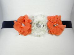 Flower Girl Sash, Wedding Belt, Bridesmaid Belt, Orange and Navy Blue Bridal Sash, Shabby Flower Pearl and Rhinestone Wedding Dress Belt KYA by PrettyCountryBridal on Etsy https://www.etsy.com/listing/245349841/flower-girl-sash-wedding-belt-bridesmaid