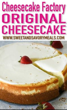 Best I've made Cheesecake Factory Original. 6 pkgs crm chz Cheesecake Copycat Recipe can easily be made at home anytime you crave it. This is a luxurious and creamy cheesecake with a graham crust and sour cream topping. Brownie Desserts, Cheesecake Desserts, Just Desserts, Delicious Desserts, Dessert Recipes, Yummy Food, Health Desserts, Simple Cheesecake Recipe, Chocolate Cheesecake