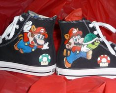 Mario All Star Converse Painted Sneakers, Hand Painted Shoes, Painted Converse, Converse One Star, Converse High, Mario Brothers, Mario Bros, Me Too Shoes, Top Shoes