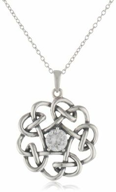 """Sterling Silver Oxidized Simulated Diamond Celtic Knot Floral Pendant Necklace, 18"""" Amazon Curated Collection,http://www.amazon.com/dp/B00B5CJO4K/ref=cm_sw_r_pi_dp_IkECtb19RB04EMJQ"""