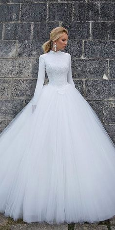 21 Impeccable Winter Wedding Dresses ❤ winter wedding dresses ball gown with long sleeves high neck simple oksana mukha ❤ Full gallery: https://weddingdressesguide.com/winter-wedding-dresses/