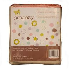 Prefold diapers coming in 3 sizes. Small for $10.50. OsoCozy Better Fit Unbleached Prefolds - 6 Pack are a high quality prefold at an affordable price.