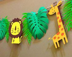 Glitter Gold Jungle Animal Party Banner ideal for Jungle Safari Theme Birthday, Lion Birthday, Wild One Birthday Party, Animal Birthday, Indoor Birthday, Birthday Diy, 1st Birthday Girls, Jungle Party, Safari Party