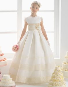 Lace Decorated Ball Gown Satin Communion Dress With Hand Made Flower