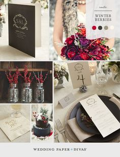 Chalkboard accents and bold winter berries are the perfect complement to a snowy setting. Combine natural textures with seasonal elements for a rustic spin on a winter wedding. Find more wedding inspiration boards on the Wedding Paper Divas blog!