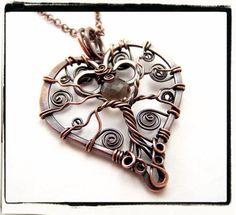 Smokey Quartz Tree of Life Filigree Heart Pendant With Chain