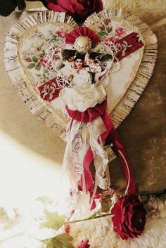 Vintage Valentine...on chipboard base...made to resemble an old Valentines candy heart box.