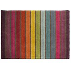 Flair Rugs Illusion Wollteppich mit Regenbogen-Streifen (120cm x 170cm) (Bunt)