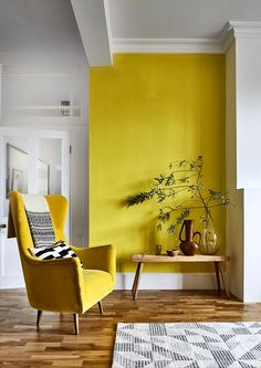 Pantone Colour of the Year 2021 and Interiors - Dear Designer Interior Design Advice, Yellow Interior, Retro Stil, Cosy Corner, Grey Walls, Accent Walls, Mellow Yellow, Color Of The Year, Pantone Color