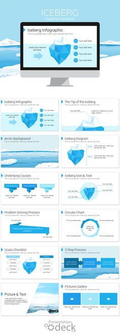 Iceberg PowerPoint template with 12 pre-designed slides. This template could be used for a wide range of topics and it's a powerful metaphor to illustrate hidden problems. You can modify shapes, text, and colors in the slide master view in PowerPoint.