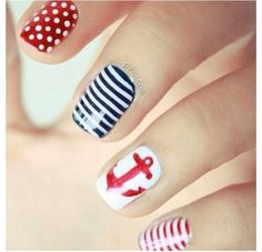 Three color colour nail art: white, red and blue. Nautical navy nail design: polka dots, stripes and an anchor. | #Pshiiit