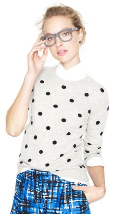 J.Crew Collection Cashmere Polka-Dot Sweater in grey and black