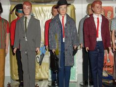 """More of the Ken/Allan shelf with (L-R) Allan in Summer Job, Ken in Business Appointment (with Special Date underneath) and Allan in Seein' the Sights in front and Ken in Ski Champion, Allan in Rovin' Reporter, and Ken in Country Clubbin' in the back (Mattel sure seemed to like dropping the """"g"""" in naming Ken's fashions)."""