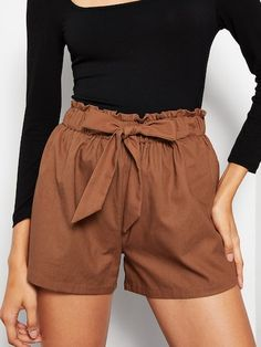 SHEIN offers Elastic Waist Knot Solid Shorts & more to fit your fashionable needs. Short Outfits, Summer Outfits, Short Dresses, Cute Outfits, Type Of Pants, Ladies Dress Design, Mannequin, High Waisted Shorts, Elastic Waist