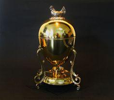 Antik Eierkocher, Egg Coddler, um 1900, 24 Karat vergoldet, Gold, Handarbeit
