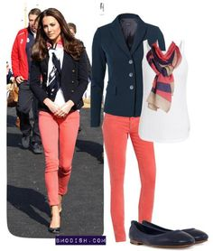 Blue navy blazers with coral jeans on bmodish.com