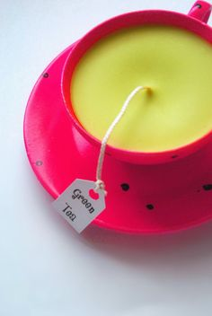 Pink Teacup Candle with tag