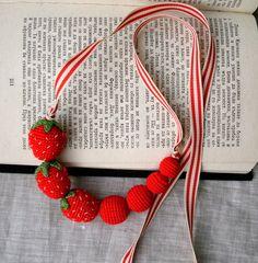 strawberry jewelry   Strawberry Necklace - Crochet Necklace - Children Necklace - Crochet ...