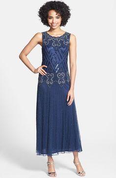 Pisarro Nights Sleeveless Embellished Mesh Gown (Regular &